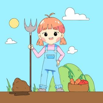 Disegno agricolo illustrato di organig