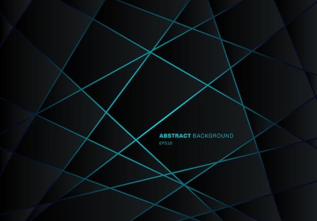 Disegno al neon luce blu poligono geometrico astratto nero