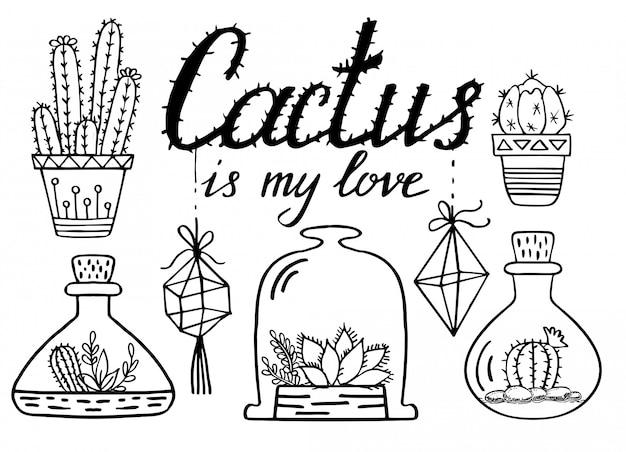 Disegno al tratto di cactus e piante grasse. insieme di doodle di cactus
