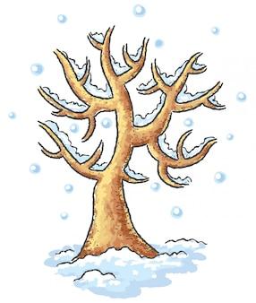 Disegno albero d'inverno