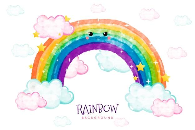 Disegno arcobaleno ad acquerello