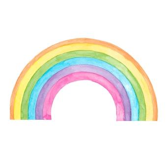 Disegno arcobaleno dell'acquerello su bianco