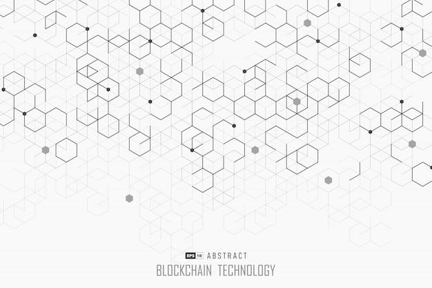 Disegno astratto blockchain di sfondo stile esagonale.