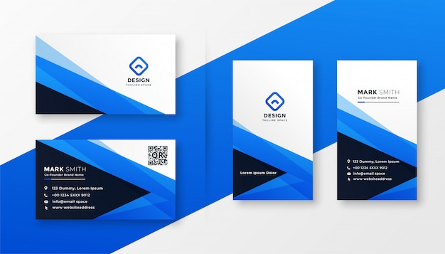 Disegno astratto blu business card