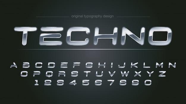 Disegno astratto brillante tipografia cromata