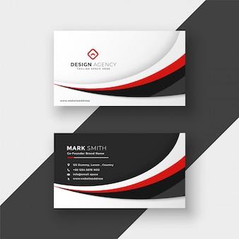 Disegno astratto business card ondulato rosso