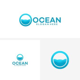 Disegno astratto del logo oceanico con onde