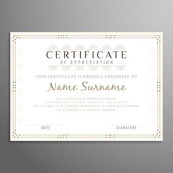 Disegno astratto di certificato elegante