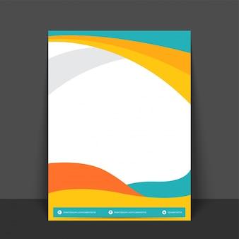 Disegno astratto di flyer, template o banner con onde colorate e spazio per il testo.