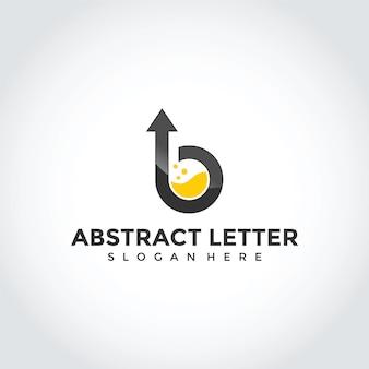 Disegno astratto di lettera b logo con freccia in alto