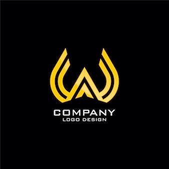 Disegno astratto di logo di arte di linea di simbolo di w