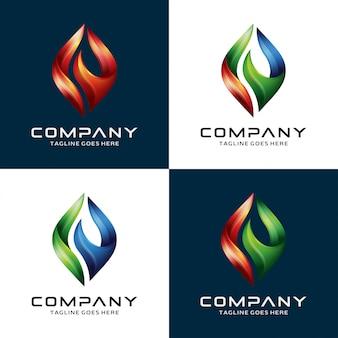 Disegno astratto di logo di fiamma 3d