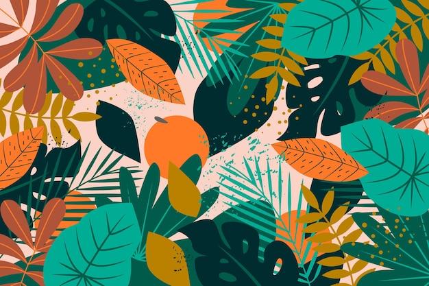 Disegno astratto foglie tropicali