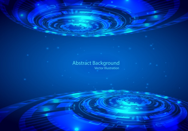 Disegno astratto tecnologia vettoriale su sfondo blu.