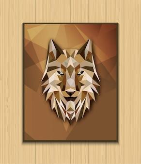 Disegno astratto testa poligonale del lupo