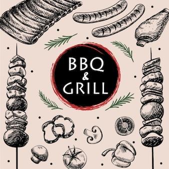 Disegno barbecue sfondo