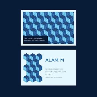 Disegno blu astratto per modello di biglietto da visita