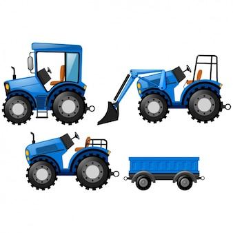 Disegno blu trattori