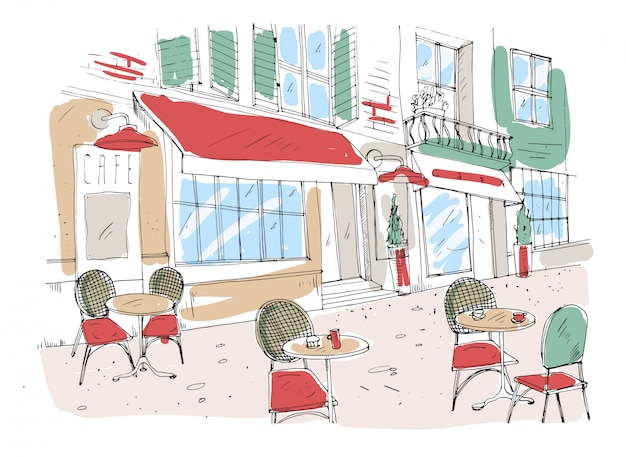 Disegno colorato del caffè, caffè o ristorante sul marciapiede estivo con tavoli e sedie in piedi sulla strada della città accanto a splendido edificio antico con tenda da sole. illustrazione disegnata a mano colorata