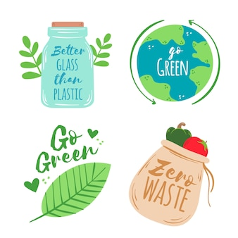 Disegno colorato di badge ecologia