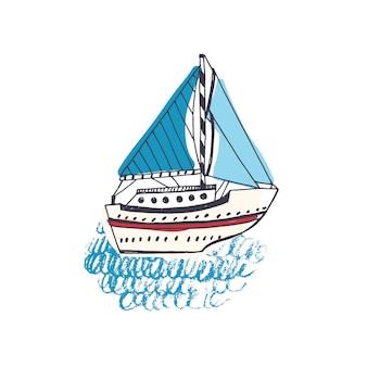 Disegno colorato di nave passeggeri, barca a vela o nave marina con vela in mare.