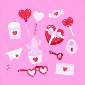 Disegno con raccolta di elementi di san valentino