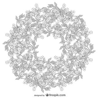 Disegno corona floreale vettoriale