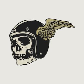 Disegno d'annata del retro dell'illustrazione d'annata del motociclo lanciante di disegno del cranio