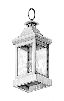 Disegno d'annata della mano della lampada della strada isolato su fondo bianco