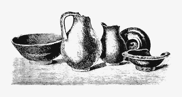 Disegno d'epoca di ceramiche antiche