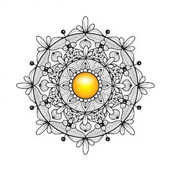 Disegno da colorare mandala con fiori
