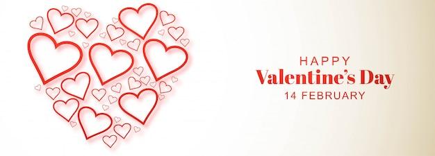 Disegno decorativo dell'insegna della carta di giorno di biglietti di s. valentino del cuore