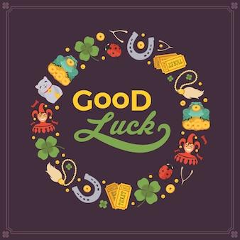 Disegno decorativo vettoriale realizzato con lucky charms e le parole good luck