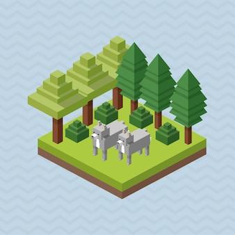 Disegno degli animali. isometrico. concetto di natura