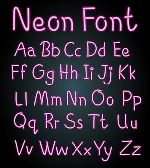 Disegno dei caratteri al neon per gli alfabeti inglesi