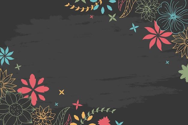 Disegno dei fiori sul concetto della carta da parati della lavagna