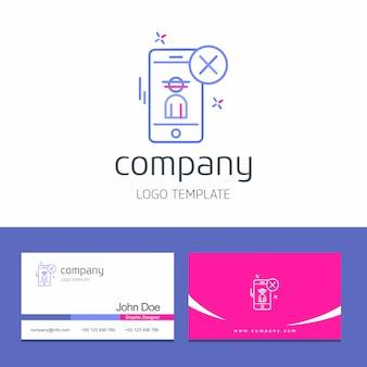 Disegno del biglietto da visita con cyber sicurezza logo design vettoriale