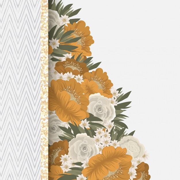 Disegno del bordo del fiore - cornice gialla