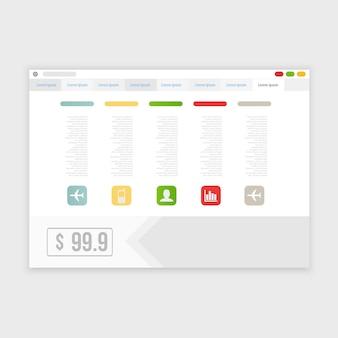 Disegno del browser vettoriale con sito web reattivo