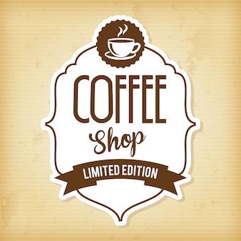 Disegno del caffè sopra illustrazione vettoriale sfondo vintage
