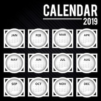 Disegno del calendario colorato vettoriale 2019