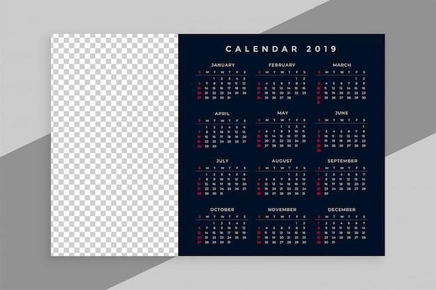 Disegno del calendario del nuovo anno 2019 con spazio immagine