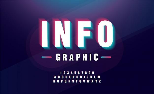 Disegno del carattere alfabeto glitched. titolo, carattere tipografico