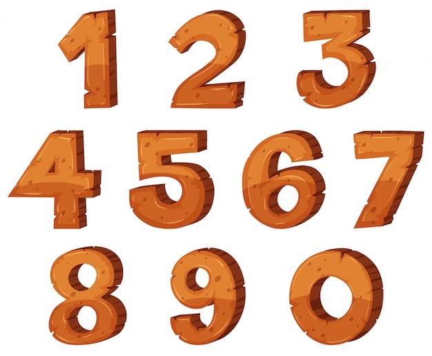 Disegno del carattere per i numeri da uno a zero
