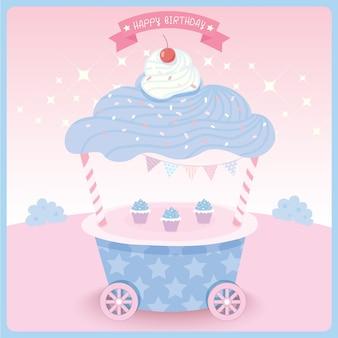 Disegno del carrello cupcake per biglietto d'auguri.