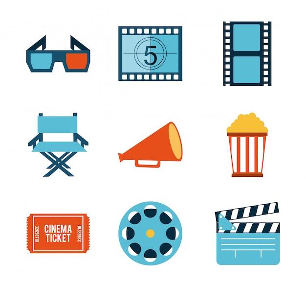 Disegno del cinema sopra illustrazione vettoriale sfondo bianco
