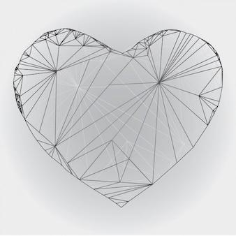 Disegno del cuore delineato poligonale