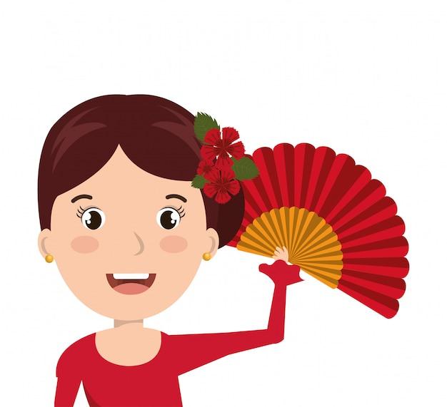 Disegno del flamenco del ballerino del fumetto della donna