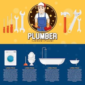 Disegno del flyer di idraulico