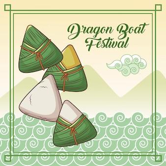 Disegno del fumetto del festival della barca del drago